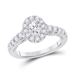1 & 1/2 CTW Oval Diamond Halo Bridal Wedding Engagement Ring 14kt White Gold - REF-224M9F