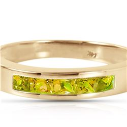 Genuine 0.60 ctw Peridot Ring 14KT Yellow Gold - REF-46N2R