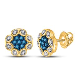 1/5 CTW Womens Round Blue Color Enhanced Diamond Cluster Earrings 10kt Yellow Gold - REF-16X4T