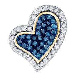 1/8 CTW Womens Round Blue Color Enhanced Diamond Heart Pendant 10kt Yellow Gold - REF-13T5V