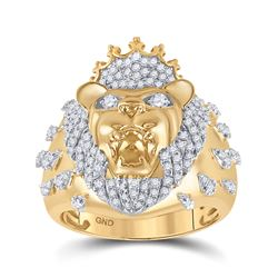 7/8 CTW Mens Round Diamond Lion Head Crown Animal Ring 10kt Yellow Gold - REF-115M8F