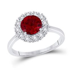 1 & 5/8 CTW Womens Round Ruby Diamond Solitaire Ring 14kt Rose Gold - REF-42W8H