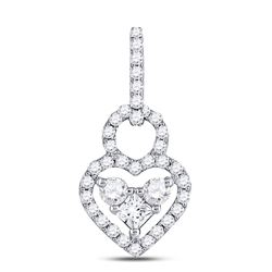5/8 CTW Womens Round Diamond Fashion Heart Pendant 10kt White Gold - REF-45N2A