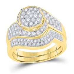 1 CTW Round Diamond Cluster Bridal Wedding Ring 14kt Yellow Gold - REF-148N6A
