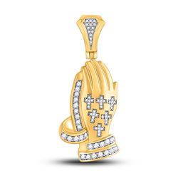 5/8 CTW Mens Round Diamond Praying Hands Cross Charm Pendant 10kt Yellow Gold - REF-79A3M
