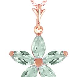 Genuine 1.40 ctw Green Amethyst Necklace 14KT Rose Gold - REF-25Z8N