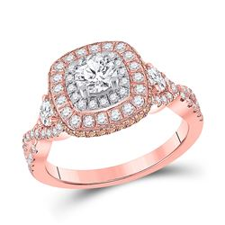 1 & 1/3 CTW Round Diamond Halo Bridal Wedding Engagement Ring 14kt Rose Gold - REF-190W8H