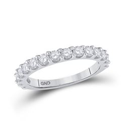 1 CTW Womens Round Pave-set Diamond Single Row Wedding Band Ring 14kt White Gold - REF-72V3Y