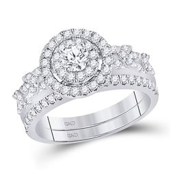 1 CTW Round Diamond Bridal Wedding Ring 14kt White Gold - REF-105T7V