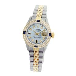 Rolex Pre-owned 26mm Womens Custom Light Blue Two Tone