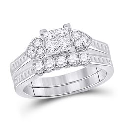 1 CTW Princess Diamond Bridal Wedding Ring 14kt White Gold - REF-92N6A