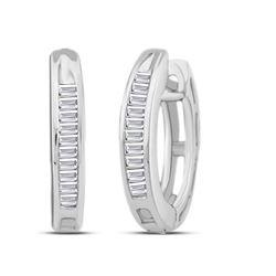 1/6 CTW Womens Baguette Diamond Huggie Hoop Earrings 10kt White Gold - REF-13T5V