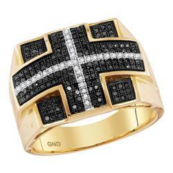 5/8 CTW Mens Round Black Color Enhanced Diamond Fashion Ring 10kt Yellow Gold - REF-70H3R