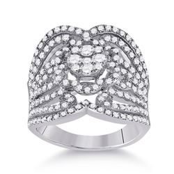 1 & 1/2 CTW Womens Round Diamond Fashion Ring 14kt White Gold - REF-170Y5N