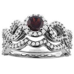 1.10 CTW Garnet & Diamond Ring 14K White Gold - REF-93N4Y