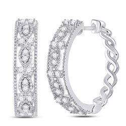 1/2 CTW Womens Round Diamond Milgrain Hoop Earrings 14kt White Gold - REF-58N2A