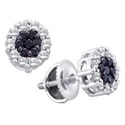 1 & 1/2 CTW Womens Round Black Color Enhanced Diamond Flower Cluster Earrings 14kt White Gold - REF-