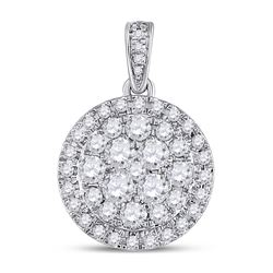 1 CTW Womens Round Diamond Halo Cluster Pendant 14kt White Gold - REF-102M3F