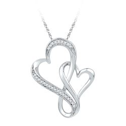 1/10 CTW Womens Round Diamond Double Entwined Heart Pendant 10kt White Gold - REF-13H2R