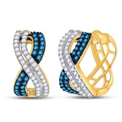 1 CTW Womens Round Blue Color Enhanced Diamond Hoop Earrings 10kt Yellow Gold - REF-54W5H