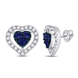 7/8 CTW Womens Round Blue Sapphire Diamond Heart Earrings 10kt White Gold - REF-23X7T