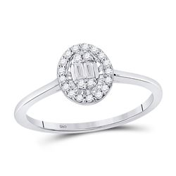 1/6 CTW Womens Round Diamond Oval Cluster Ring 14kt White Gold - REF-29H4R