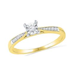 1/10 CTW Round Diamond Solitaire Bridal Wedding Engagement Ring 10kt Yellow Gold - REF-17Y3N