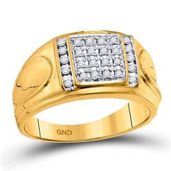 1/4 CTW Mens Round Diamond Square Cluster Ring 10kt Yellow Gold - REF-41T5V