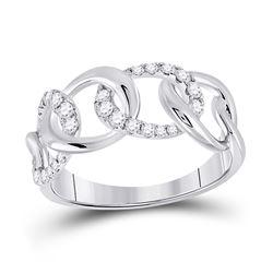 1/3 CTW Womens Round Diamond Curb Link Fashion Ring 14kt White Gold - REF-38F2W