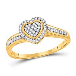 1/6 CTW Womens Round Diamond Heart Ring 10kt Yellow Gold - REF-21H8R