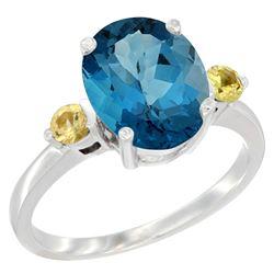 2.64 CTW London Blue Topaz & Yellow Sapphire Ring 14K White Gold - REF-32W8F