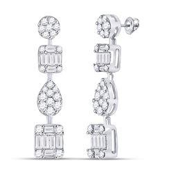 1 & 1/3 CTW Womens Round Diamond Baguette Square Dangle Earrings 14kt White Gold - REF-129W5H