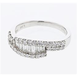 0.87 CTW Diamond Ring 18K White Gold - REF-91W5H
