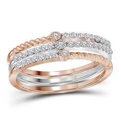 1/4 CTW Womens Round Diamond Stackable Band Ring 10kt Two-tone White Rose Gold - REF-27A3M