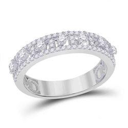 5/8 CTW Womens Round Diamond Anniversary Band Ring 14kt White Gold - REF-54W5H