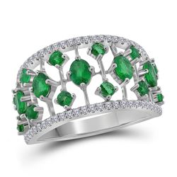 1 & 5/8 CTW Womens Oval Emerald Fashion Ring 18kt White Gold - REF-143V2Y