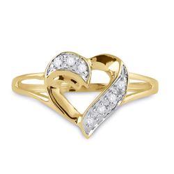 1/20 CTW Womens Round Diamond Heart Ring 10kt Yellow Gold - REF-14R2X
