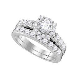1 & 1/2 CTW Round Diamond Halo Bridal Wedding Ring 14k White Gold - REF-228F3W