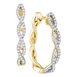 1/2 CTW Womens Round Diamond Twist Hoop Earrings 10kt Yellow Gold - REF-47R6X