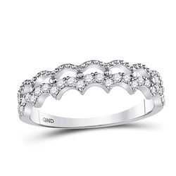 1/4 CTW Womens Round Diamond Scalloped Stackable Band Ring 10kt White Gold - REF-24A5M