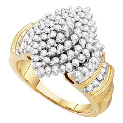 1 CTW Womens Round Diamond Cluster Ring 10kt Yellow Gold - REF-70H8R
