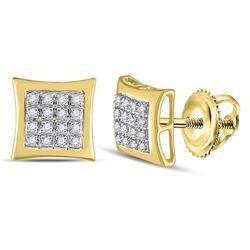 1/12 CTW Mens Round Diamond Kite Square Earrings 10kt Yellow Gold - REF-13M2F