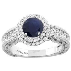 1.50 CTW Blue Sapphire & Diamond Ring 14K White Gold - REF-149H8M