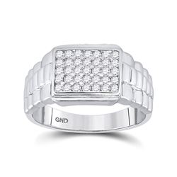 1/2 CTW Mens Round Diamond Rectangle Cluster Ribbed Ring 10kt White Gold - REF-42N8A