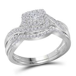 1/2 CTW Princess Diamond Bridal Wedding Ring 14kt White Gold - REF-78A3M