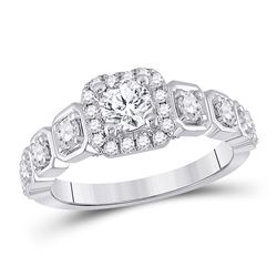 1 & 1/4 CTW Round Diamond Solitaire Bridal Wedding Engagement Ring 14kt White Gold - REF-218V2Y