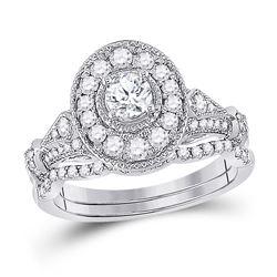 1 CTW Round Diamond Bridal Wedding Ring 14kt White Gold - REF-150W2H