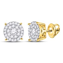 3/8 CTW Womens Round Diamond Concentric Circle Cluster Earrings 10kt Yellow Gold - REF-32V7Y