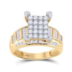 7/8 CTW Round Diamond Cindys Dream Cluster Bridal Wedding Engagement Ring 10kt Yellow Gold - REF-68N