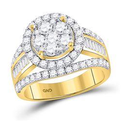 1 & 7/8 CTW Round Diamond Flower Cluster Bridal Wedding Engagement Ring 14kt Yellow Gold - REF-156X7